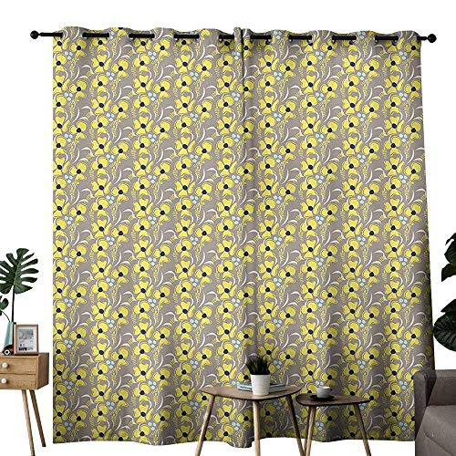 Taupe Living Room Curtain Romantic Lively Meadow Inspired Spring Yard Flowers Feminine Fashion Bouquet Wedding Party Home Window Decoration W72 xL84 Indigo Yellow Taupe
