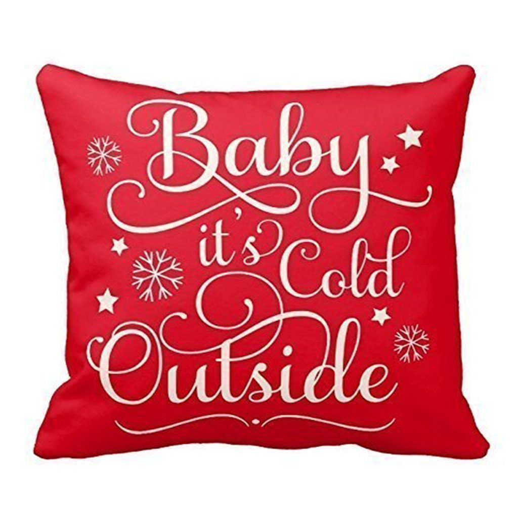 amazoncom sixstars baby it's cold outside  holiday throw pillow  - amazoncom sixstars baby it's cold outside  holiday throw pillow square decorativethrow pillow cover retro x  pillowcase cushion cover home