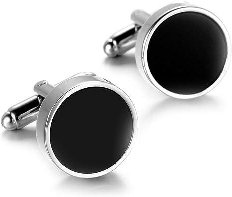 Daesar Gemelos para Camisa Hombre Gemelos Camisa Hombre Cobre Redondo Pulido Gemelos de Hombre Plata Negro: Amazon.es: Joyería