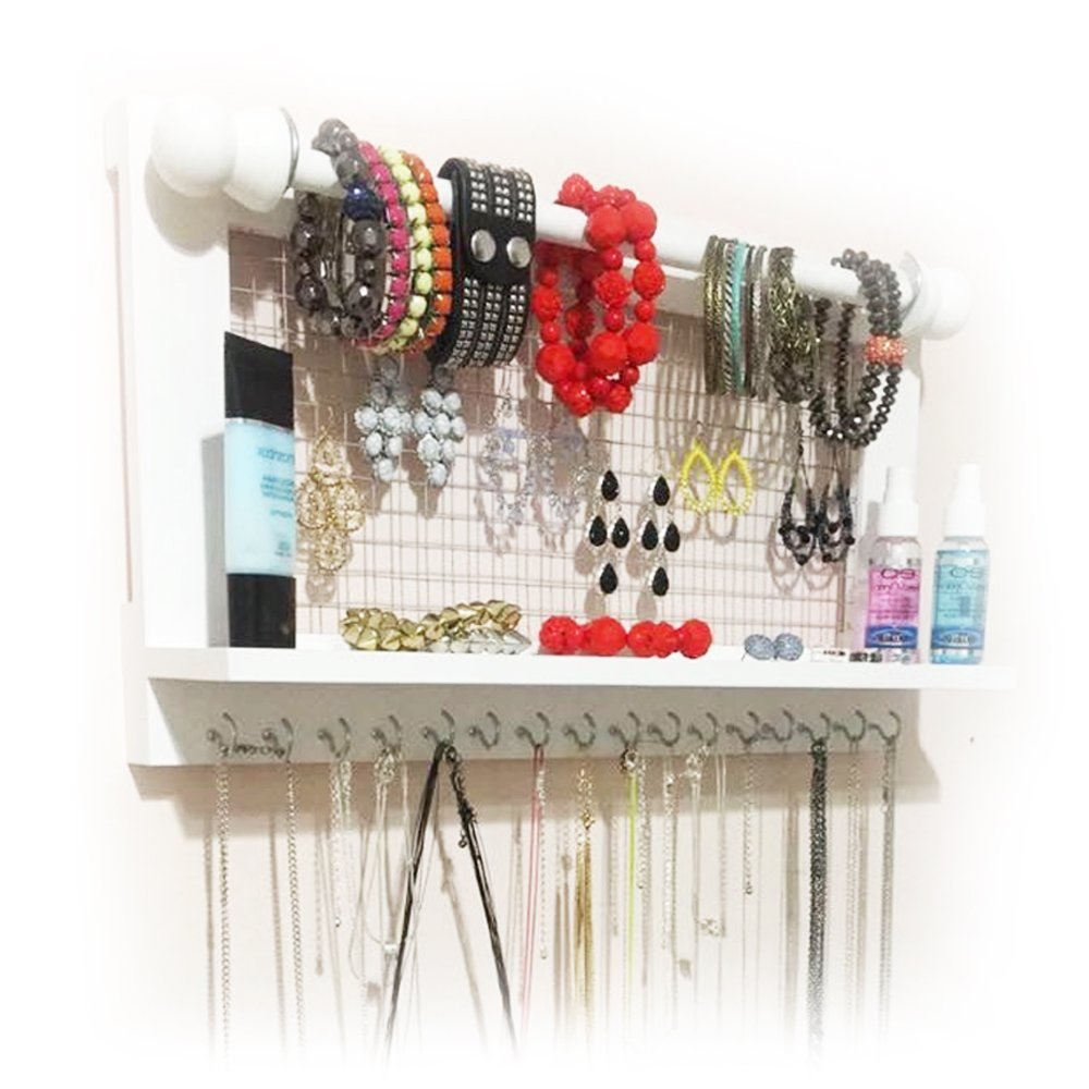 Hanging Jewelry Organizer | Wall Mounted Wooden Holder for Necklace, Earrings, Bracelets, Rings & Other Accessories | With Hooks, Shelf, Wire Grid & Removable Bar | 17.5'' x 10'' Size | White