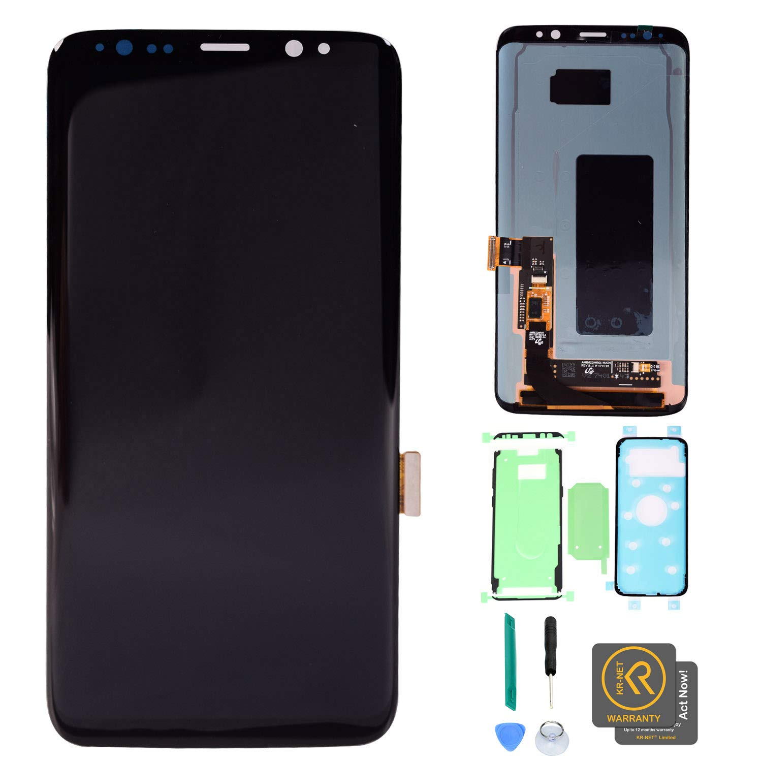 KR-NET AMOLED LCD Display Touch Screen Digitizer Assembly Replacement + Full Set PreCut Adhesive for Samsung Galaxy S8+ Plus G955F G955A G955P G955V G955T G955R4 by KR-NET