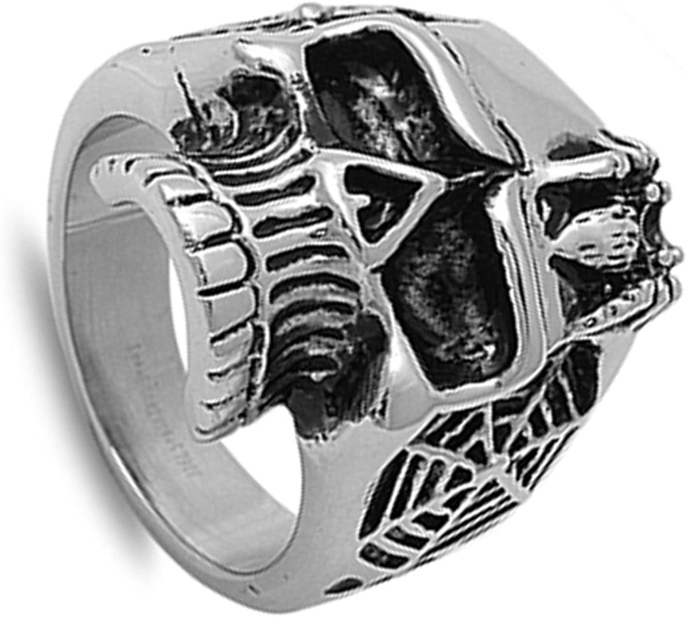 Men/'s Heavy Skull Spider Web Biker Ring Stainless Steel Band 25mm Sizes 8-13