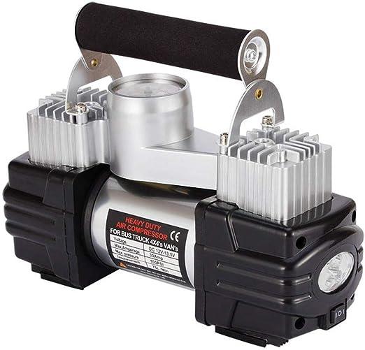 WERSDF Bomba de compresor de Aire de Doble Cilindro, 12V, inflador de neumáticos, con manómetro y luz, para automóvil/sedán/Motor/Bicicleta/camión: Amazon.es: Deportes y aire libre