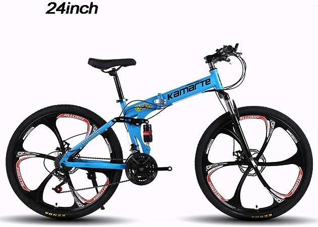 YHNMK Bicicleta Plegable,Bikes Bicicleta Plegable Urbana,Bicicleta 24 Pulgadas Manillar Y Asiento Ajustables,Marco de Acero Carbón,Unisex al Aire Libre Plegable de La: Amazon.es: Hogar