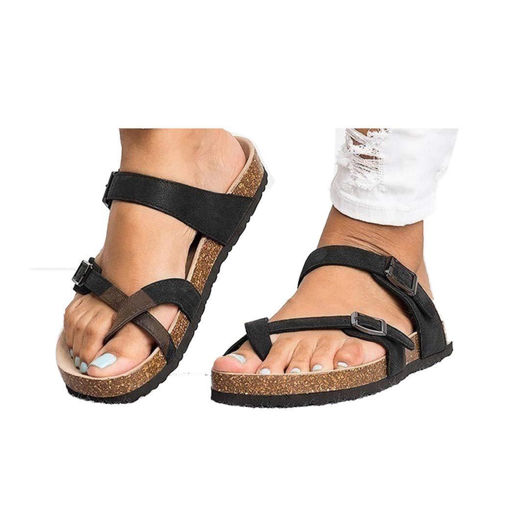 d8ebc63857b1c KOKOBUY Women's Gladiator Sandals, Casual Ankle Buckle Strap Flat Slides,  Summer Beach Shoes Flip-Flops