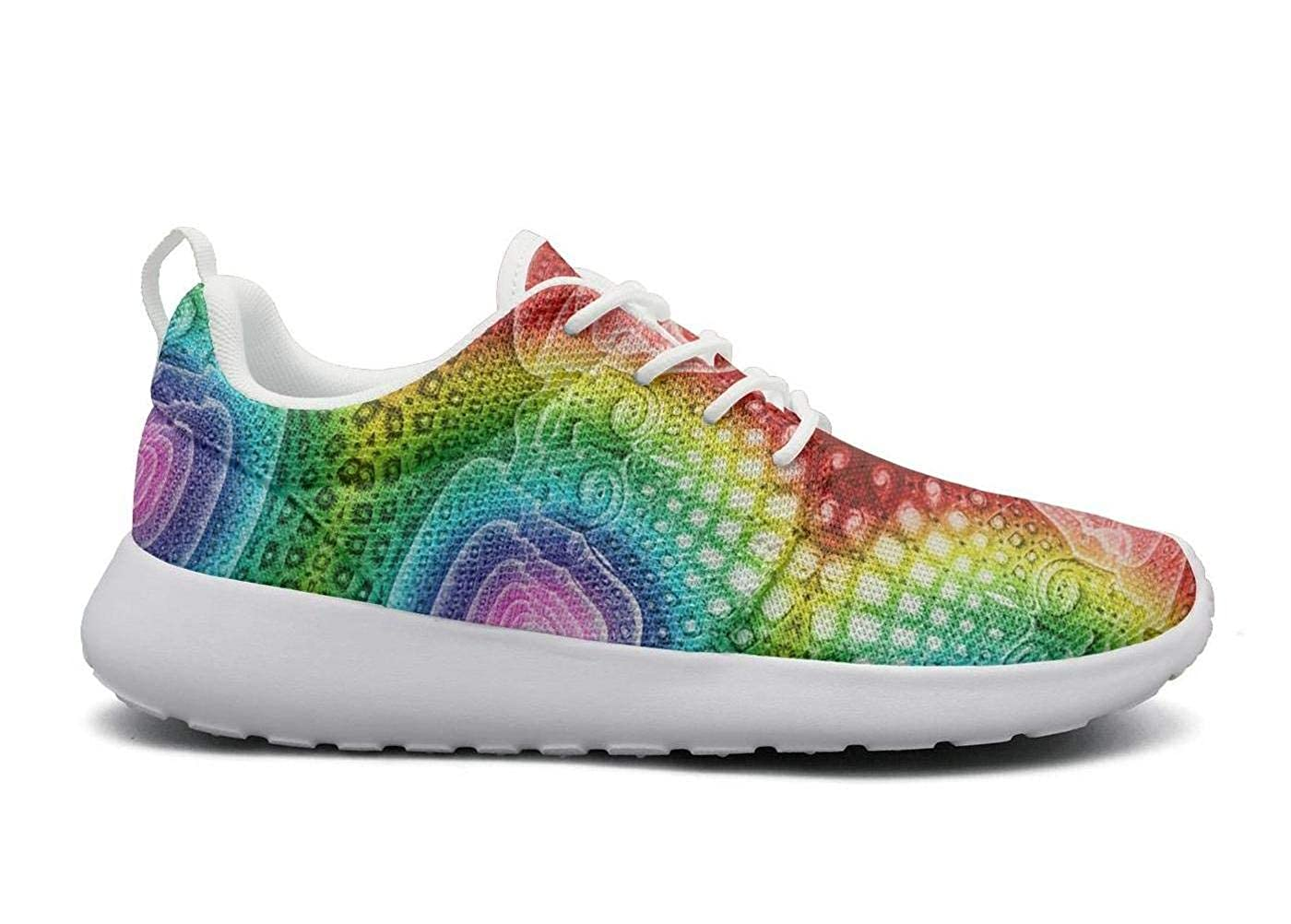 Trippy abstract psychedelic music Festival Plimsolls Women for Women Low Top Comfortable and Lightweight Running Shoes