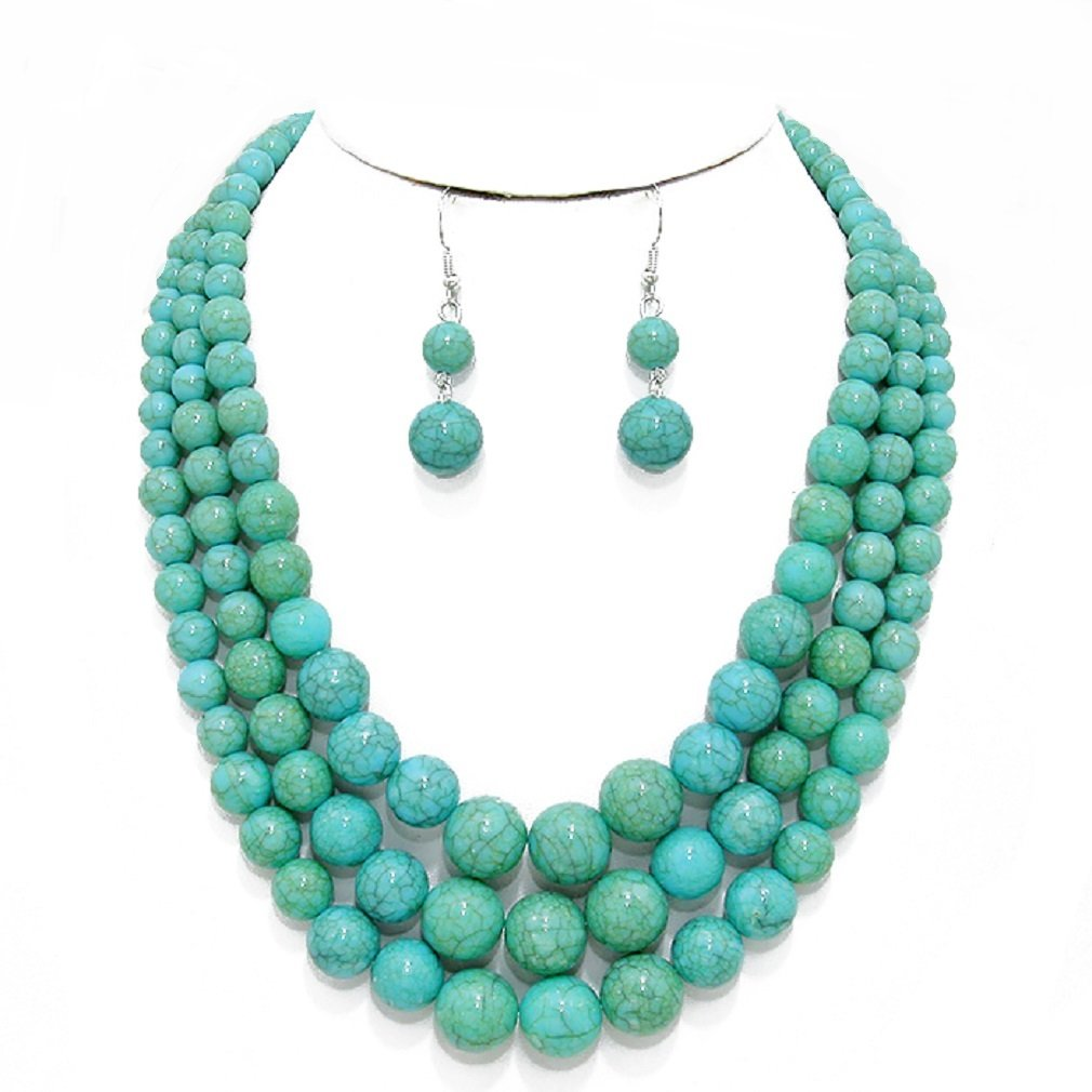 Affordable Wedding Jewelry Statement Layered Strands Turquoise Stone-simulated Pearl Beads Necklace Earrings Set Gift Bijoux