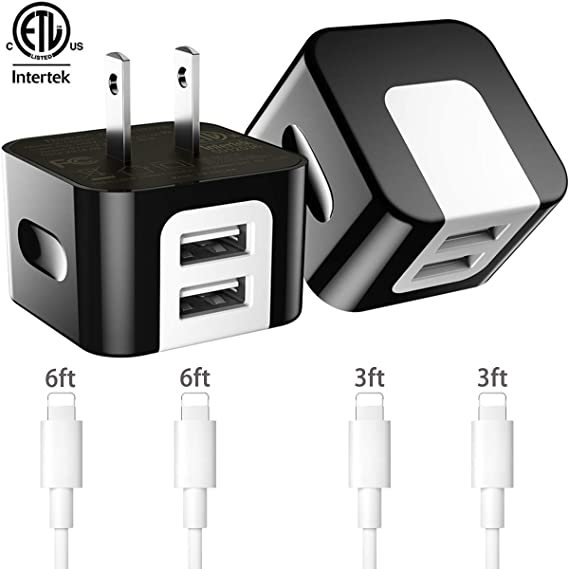 Dodoli [6-Pack] Phone Charger, (6FT+6FT+3FT+3FT) Extra Long Fast Charging & Sync Cable with 2 X 2.4A Dual Port USB Wall Charger Plug Adapter ...