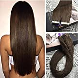 Moresoo 16 Inch Seamless Skin Weft Remy Hair Extensions Tape in 50 Grams 20 Pieces Chocolate Brown #4 Glue Hair Extensions Adhesive Tape on Remy Human Hair Extensions