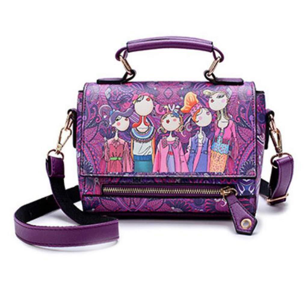 BAGBAGJJ Fashion Print Crossbody Spring Soft Handbag Flip Small Square Bag Adjustable Shoulder Bag Color : Purple, Size : 201016cm