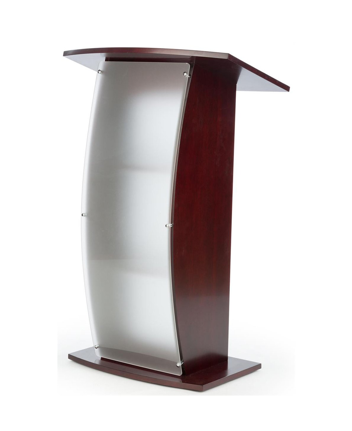 FixtureDisplays 44.25'' Tall Podium for Floor, Curved Frosted Front Acrylic Panel - Red Mahogany 19658