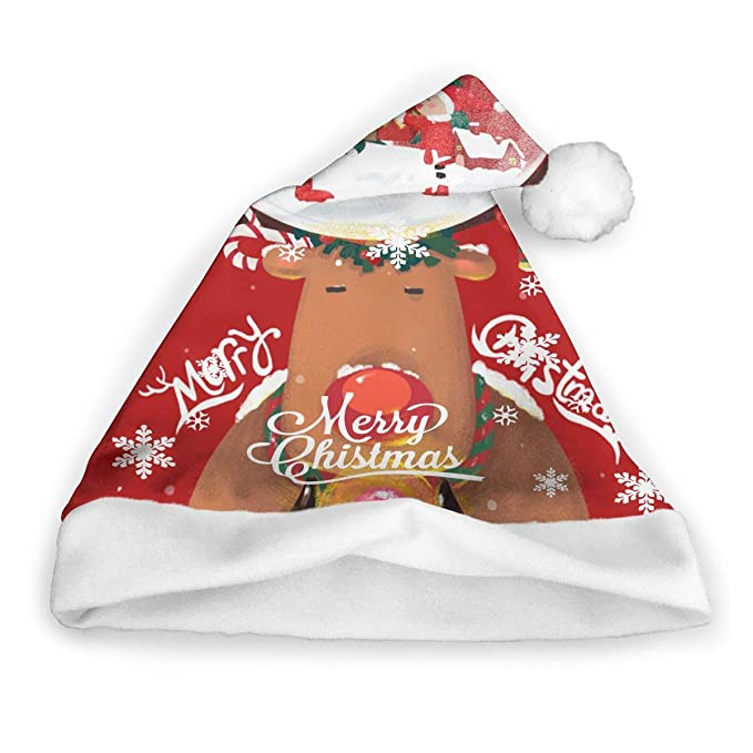 0ef92e4b15044 Amazon.com  Cute Reindeer Adults Christmas Cap Santa Caps Crazy Xmas  Accessories Unisex Christmas Eve Headdress  Clothing