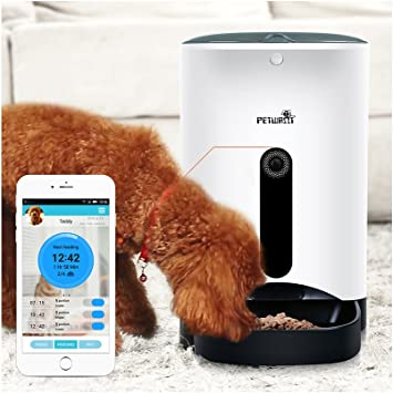 Petwant 4 Meal Automatic Pet Feeder 4 3l Capacity Portion Control Voice Recording With Camera Amazon Co Uk Pet Supplies