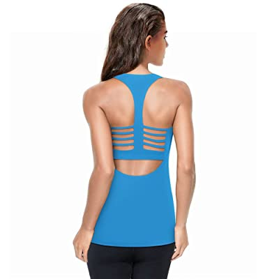 Women Workout Open Back Racerback Yoga Sports Tank Tops with Built in Bra