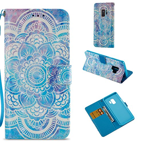 HAOTP Galaxy S9 Wallet Case, 3D Beauty Luxury Fashion PU Flip Stand Credit Card ID Holders Wallet Leather Case Cover for Samsung Galaxy S9 Mandala Floral Flower