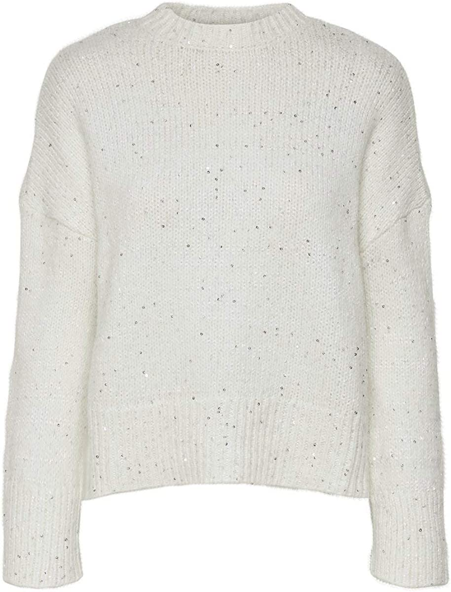Only Onqcarla L//S Sequins Pullover Knt Felpa Donna