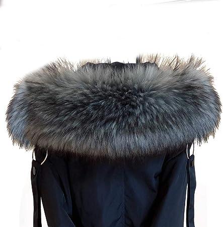 Amorar Bufanda De Pelo De Imitación Para Mujer Cuello De Pelo Para Invierno Cálida Para Capucha Cuello De Piel Sintética Para Abrigo De Invierno Con Botones Gris Negro 75 Cm Amazon Es Deportes