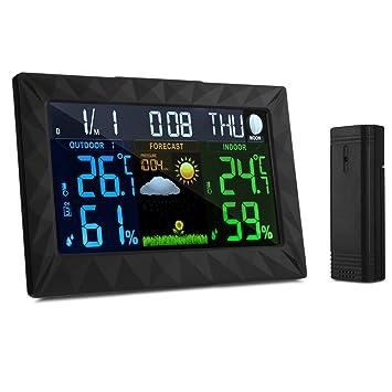 accewit reloj digital estación metereológica San inalámbrico gran pantalla color LCD, estación de exterior interior termómetro higrómetro barómetro ...