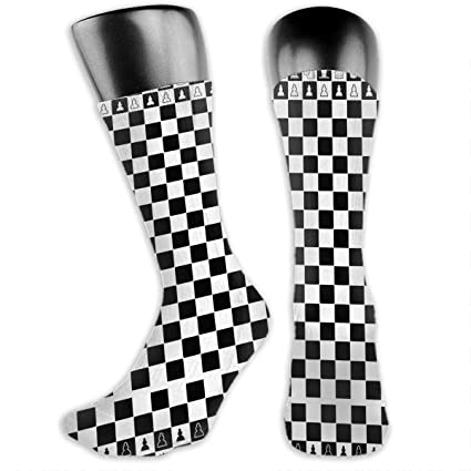 0a7b831f3070 Amazon.com  TLDRZD Unisex 3D Socks Black and White Squares Chess Adult One  Size Crazy Tube Funny Novelty Polyester Fibre Socks  Home   Kitchen