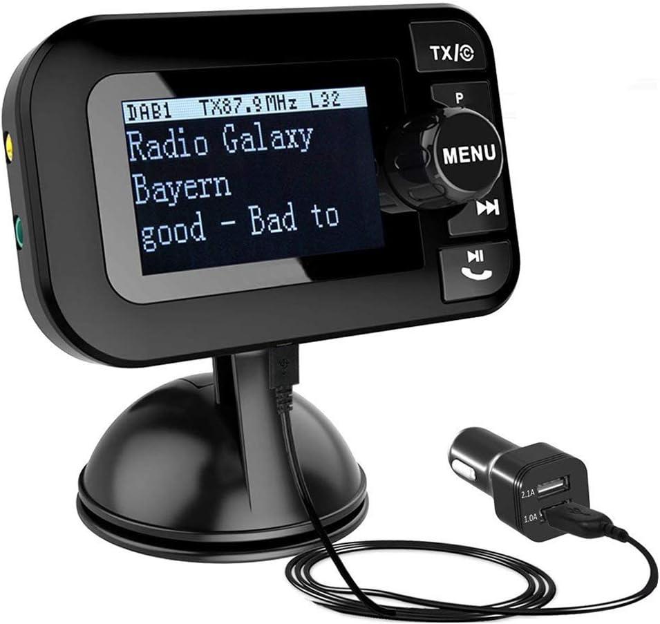 Esuper Car DAB - Adaptador de radio portátil para coche con radio DAB/DAB+ y receptor de radio digital, transmisor FM Bluetooth