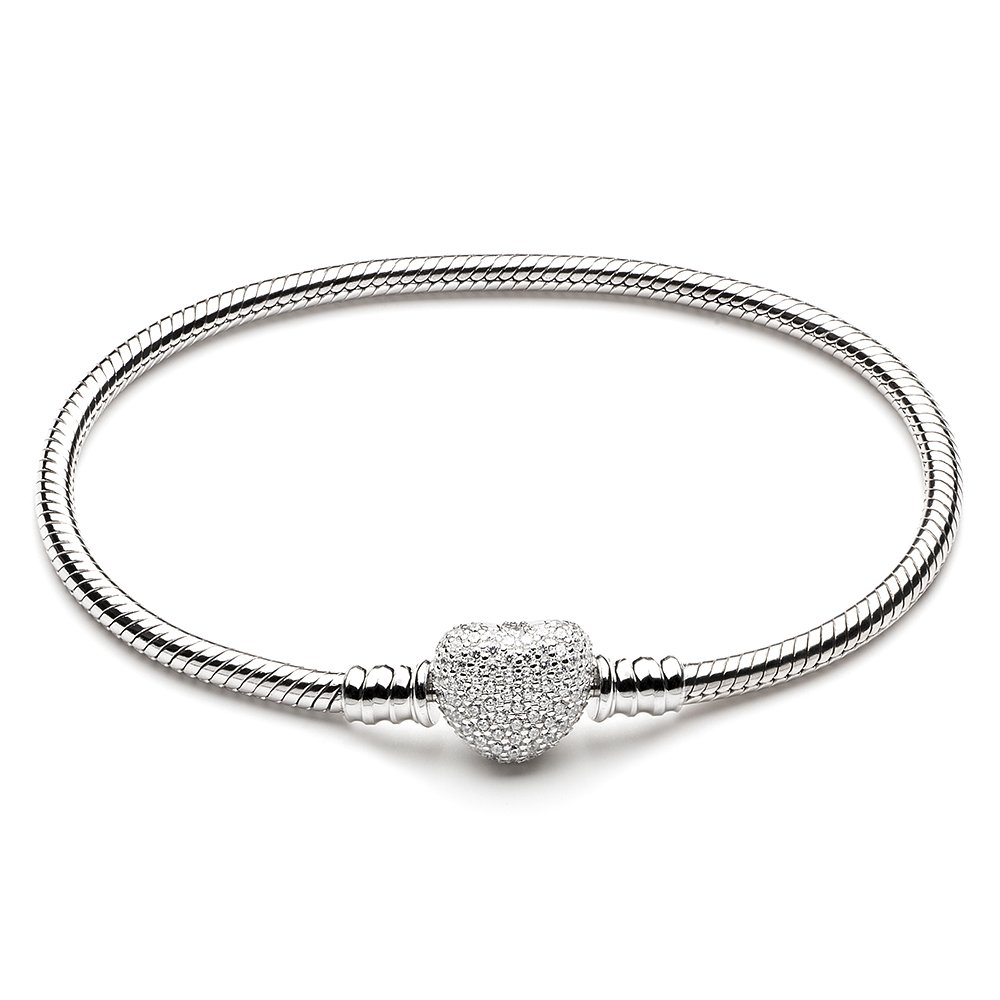 ATHENAIE 925 Sterling Silver Snake Chain with Pave Clear CZ Heart Clasp Bracelet Fit All European Charm Beads