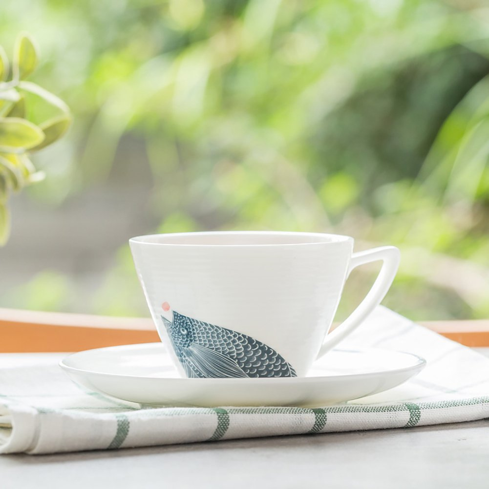 qwert Teacup,Coffee cup set Porcelain cup Household Hotels Simple latte cup 1 cups, 1 discs. Capacity 220ml-A by qwert (Image #2)
