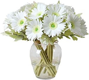 LebriTamFa 7PCS Real Touch PU Artificial Barberton Daisy Gerbera Daisy Flowers Bunch Bouquet Arrangements for Holiday Bridal Bouquet Home Party Decor Bridesmaid (White)