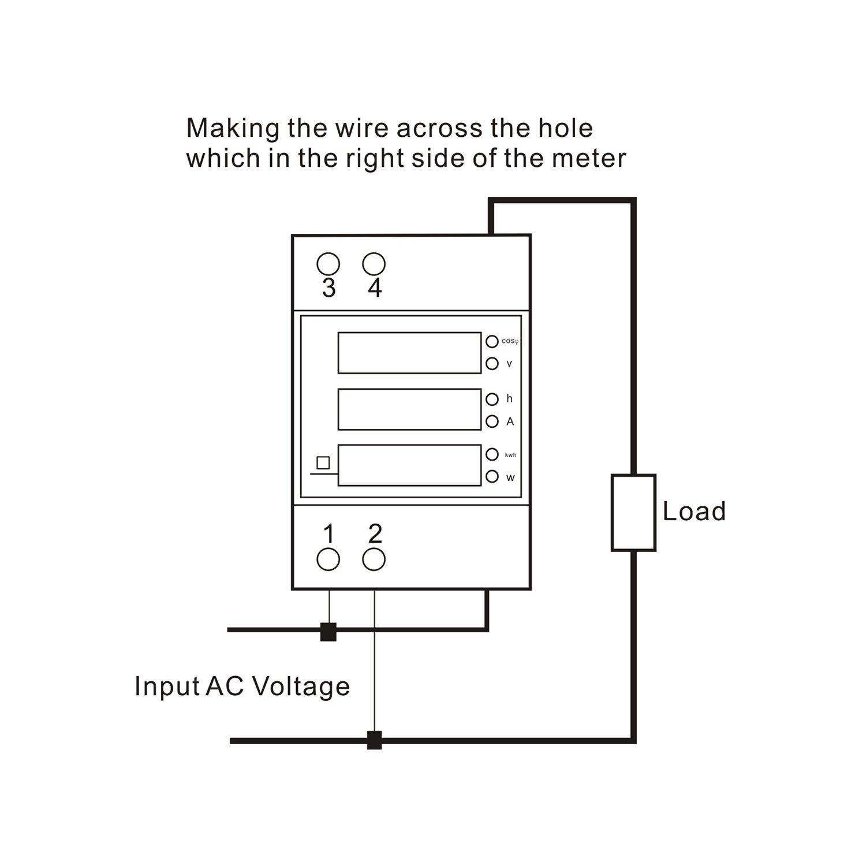 DROK DIN Rail Digital Multimeter AC Voltmeter Ammeter Power Energy KWh Meter Power Factor Accumulation Time Monitor Multifunction Meter by DROK (Image #7)