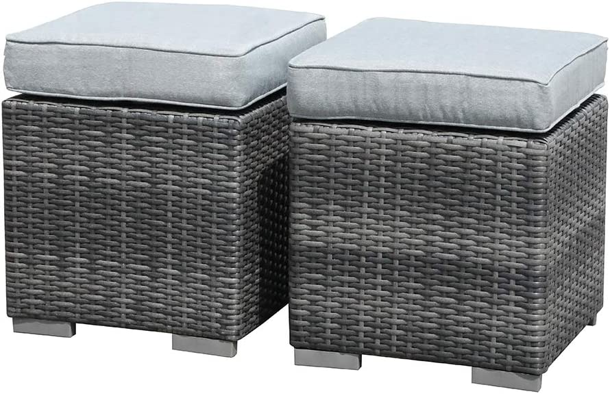 Patiorama 2 Pieces Assembled Outdoor Patio Ottoman, Indoor/Outdoor All-Weather Grey Wicker Rattan Outdoor Footstool Footrest Seat with Light Grey Cushions, No Assembly Required