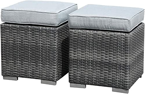 Patiorama 2 Pieces Assembled Outdoor Patio Ottoman
