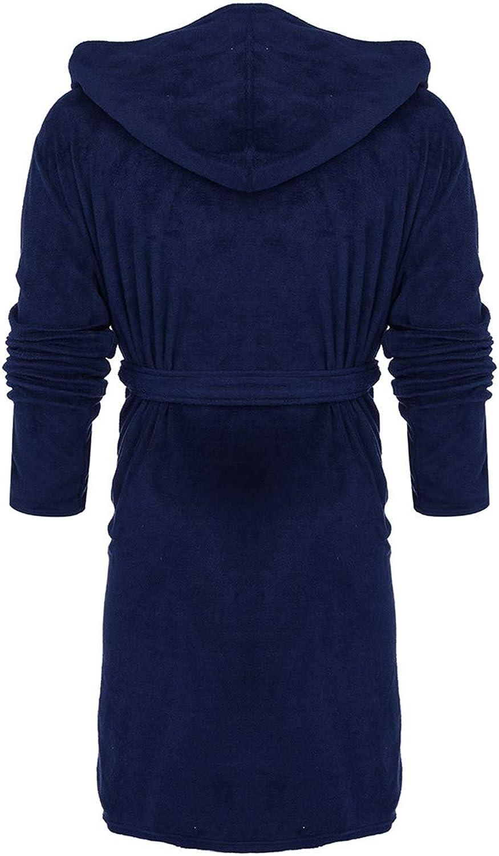 Mens Bathrobe Winter Lengthened Plush Shawl Comfortable Bathrobe Home Clothes Long Sleeved Robe Coat Dark Blue