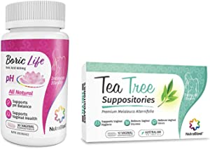 NutraBlast Boric Acid Suppositories 600mg (30 Count) w/Tea Tree Oil Suppositories (12 Count)   All Natural Intimate Deodorant for Women   Restore Feminine pH Balance