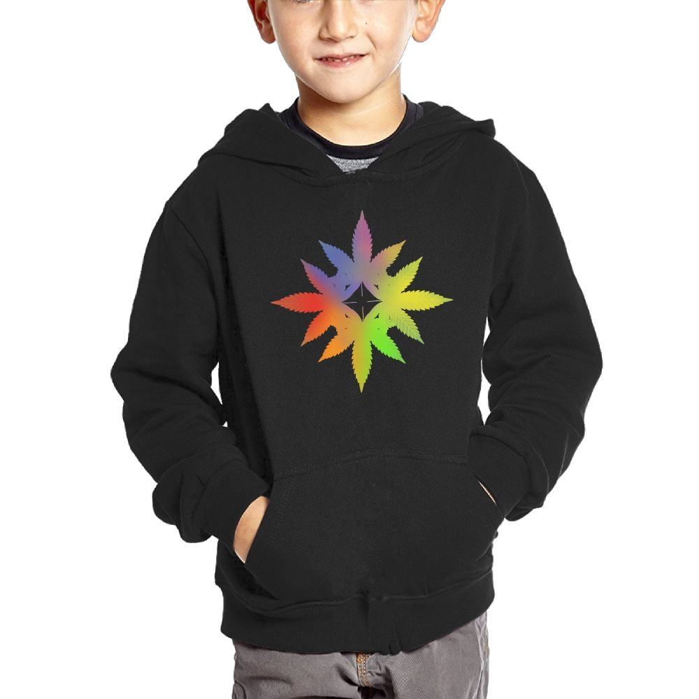 Small Hoodie Rainbow Pot Leaf Boys Graphic Sweatshirt Kangaroo Pocket Hoodie