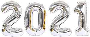2021 Balloons Gold Foil Balloons for 2021 New Year Eve Balloons, 40 inch Decorations Balloon Graduation Festival Party Supplies (Silver)
