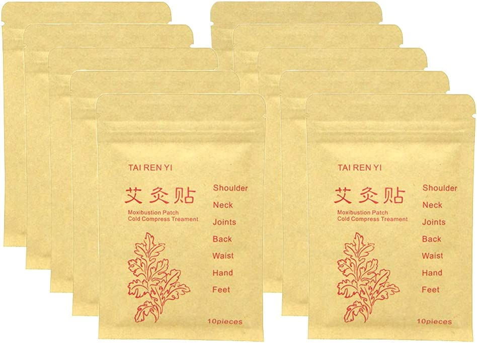 (100pcs) Moxibustion Patch Pure Nature Cold Compress Treatment Moxa Sticker Foot Pads Chinese Traditional Paste for Neck, Shoulder, Back, Waist, Hand, Feet, Joint, 7 * 10cm, Pack of 10
