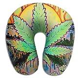 Cannabis Leaf Adult Size Neck Pillow Spa Memory Foam U-SHAPE Flying Everybody