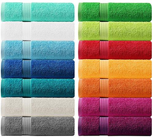 Lashuma Handtuch Set - Frotteeserie Linz - in 14 Farben und 6 Größen, Farbe: aquamarin blau, Badetuch 100x150 cm