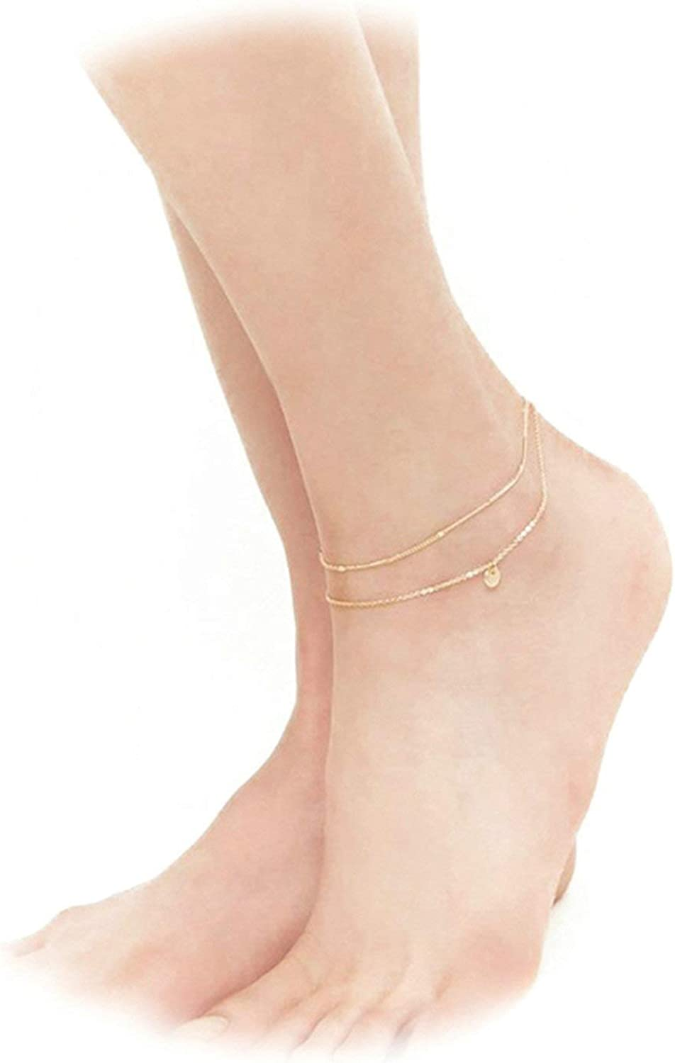 KnSam Charm Anklets for Women Girls Gold Alloy Double Layered Round Indian Anklet