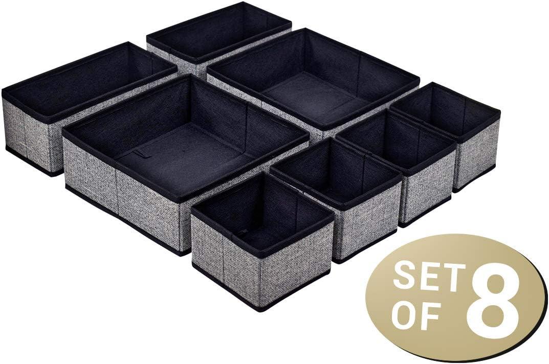 Juego de 8 cajas de almacenamiento plegables y versátiles de tela, color negro/gris, calcetines, joyas, cosméticos, juguetes: Amazon.es: Hogar
