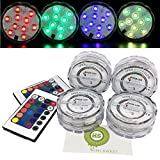 KIWISWEET 10 LEDs RGB Submersible LED Light with Remote Controller,Multi Color Waterproof Flashing Bright light for Wedding/Party/Christmas/Swimming Pool/Fish Tank Decorations, set of 4