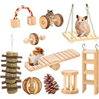 10 Pack Hamster Chew Toys, Natural Wooden Cage Toys, Seesaw, Swing, Pine Ball for Guinea Pigs Chinchillas Bunny Gerbils…