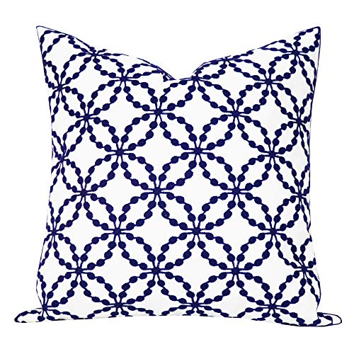 SLOW COW Cotton Embroidery Decorative Throw Pillow Cover Geometric Design Cushion Cover 18x18 Inches Navy Blue