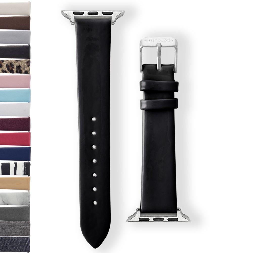 Wristology Apple Watch 38 mmシルバーアルミニウムWomens Interchangeable交換用時計バンド ブラック ブラックパテント ブラックパテント B0779K9YZ4