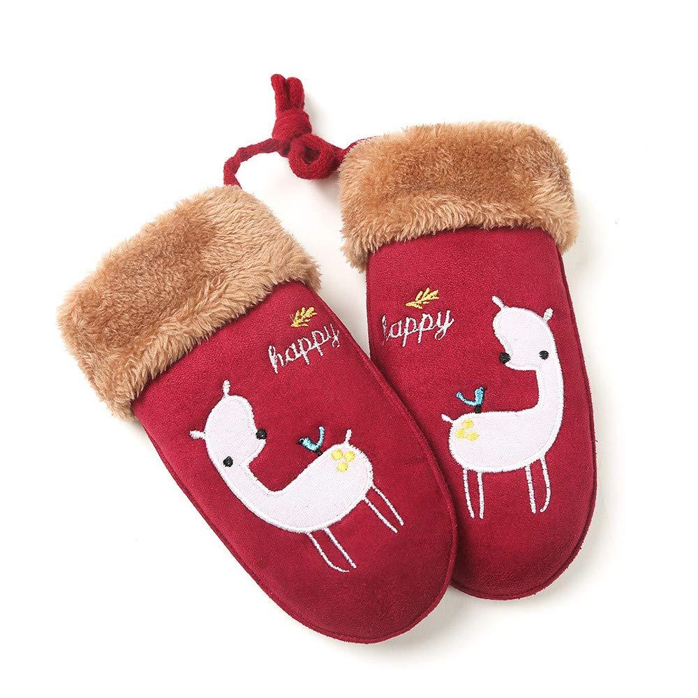 Muium Children Baby Girls Boys Christmas Cartoon Gloves Winter Warm Mittens Gift For 0-7 Years Old