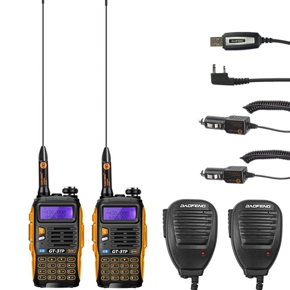 Baofeng GT-3TP Mark-III 8W/4W/1W Dual Band High Power Walkie Talkie Two-Way Radio Transceiver 136-174MHz 400-520 MHz 2 Pack + 2 Remote Speaker + 1 Programming Cable