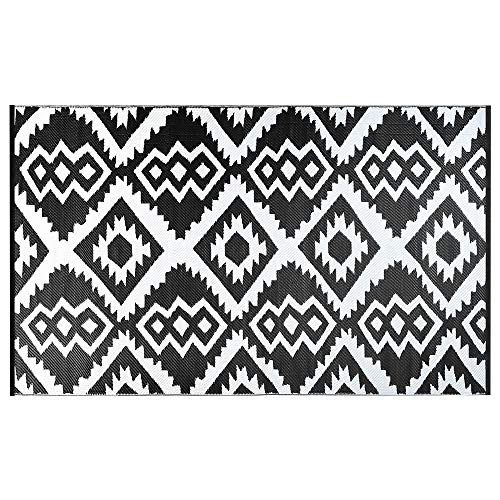 SMART DESIGN Reversible Indoor/Outdoor Plastic Rug, Fade Resistant Area Rug, Use for Patio, Deck, Garage, Picnic, Beach, Camping, Or Everyday Use -(6x9 feet,Black+Grey (Outdoor Rugs No Fade)