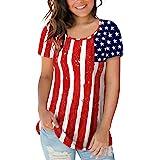 Sousuoty American Flag Shirt Women Short Sleeve Tops Scoop Neck Casual