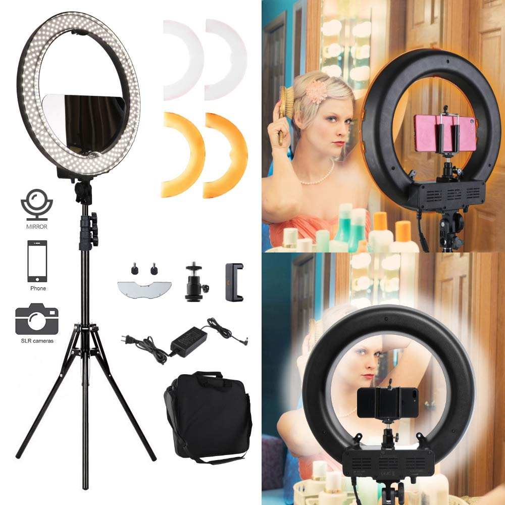Ring Light 18'' 48cm Outer 55W 5500K adjustable Colored LED Round Ring Light Kit, Warm/White Color Temperature Camera Mirror YouTube Video Makeup Lighting with Light Stand Circle selfie light Filming