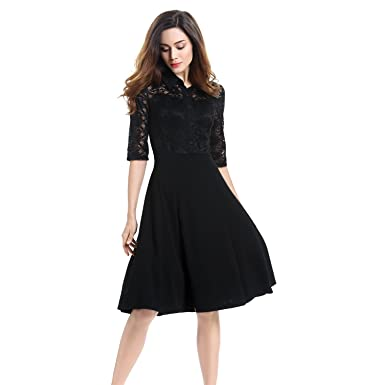 Amazon.com: Lace Dress, Vitalismo A-line Knee Length Half Sleeve ...