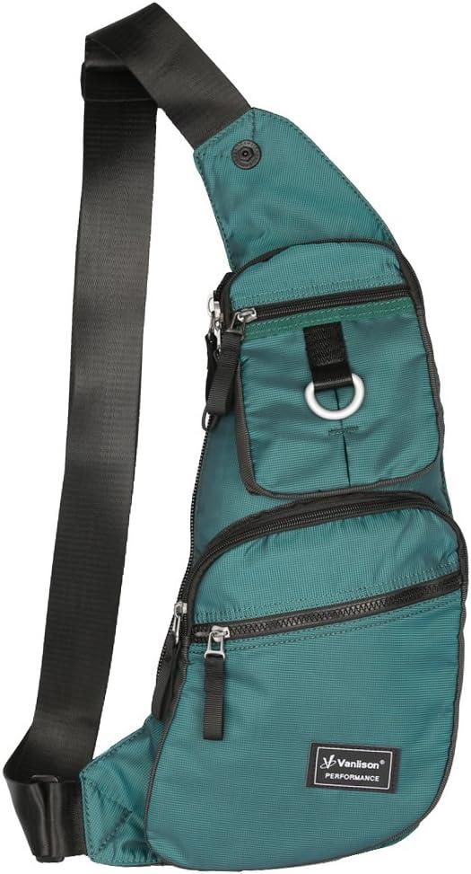 Vanlison Small Sling Backpack Small Crossbody Bag For Men Women Sling Bag Small Chest Bag Lightweight Shoulder Bag Black